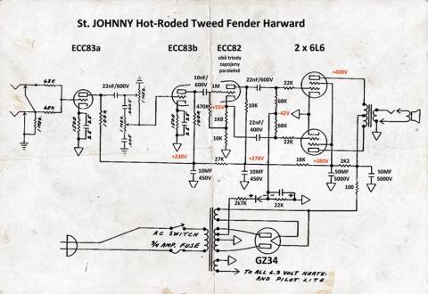 Jan Stehlík – schéma HotRoded Tweed Fender Harward
